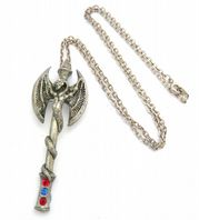 Gothic Pewter Dragon and Staff  Pendant And Necklace